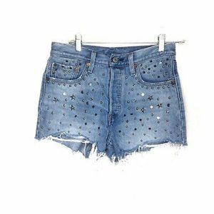 Levis 501 High waisted silver studded star shorts